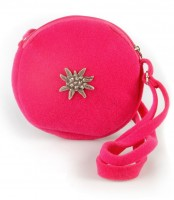 Schultertasche Filz rund mit Edelweiß pink
