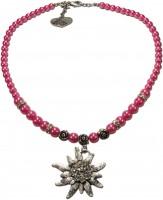 Vorschau: Perlenhalskette großes Edelweiß pink