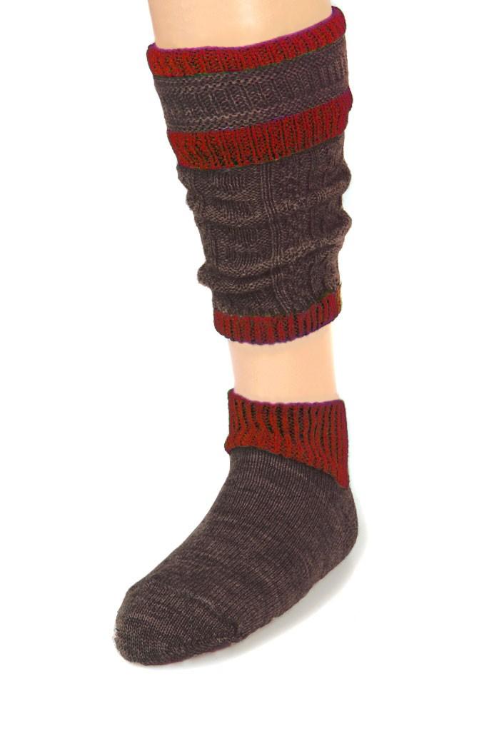 Beierse sokken Loferl bruinrood