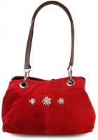 Wildleder Trachtentasche rot mit Edelweiß-Motiv