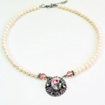 Perlenhalskette lila Rose