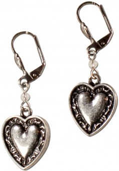 Trachten Earrings, Hearts, Antique Silver