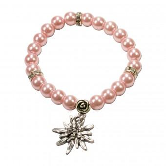 Bransoletka perłowa Laura Edelweiss różowa