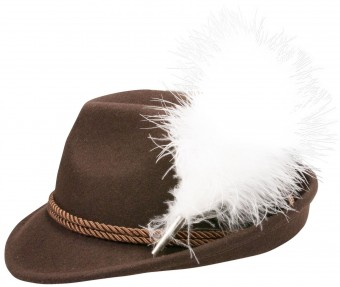 Felt Hat, Plush Feather, Brown