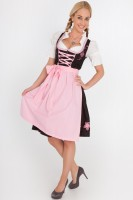 3-piece black, sweet midi dirndl with pink apron