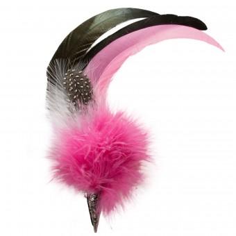 Hut-Brosche Hahnenfeder pink
