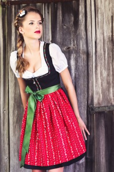 Emma dirndl, red Sweet mini dirndl with a cute red apron