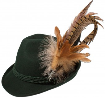 Trachten Felt Hat with Feathers, Green