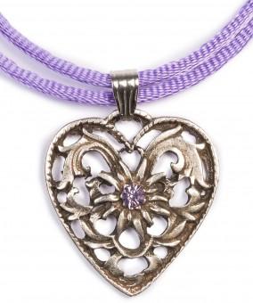 Herzkette mit Stein und 2 Satinbändern, lila