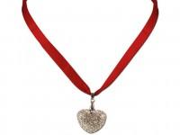 Vorschau: Satin Halskette mit Strassherzerl rot