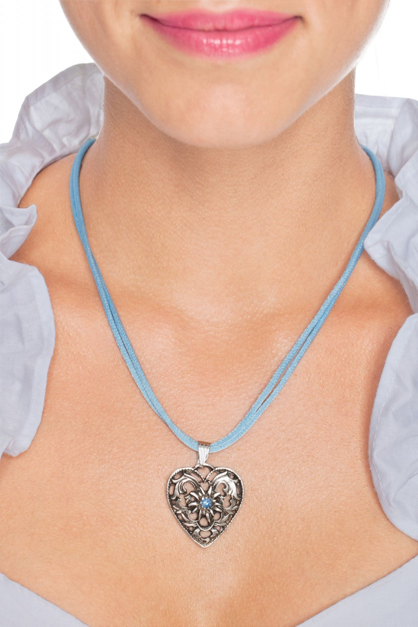Herzkette mit Stein und 2 Satinbändern, hellblau