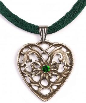 Herzkette mit Stein und 2 Satinbändern, tannengrün