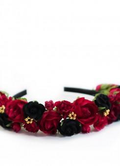Rozenfluwelen hoofdband rood-zwart