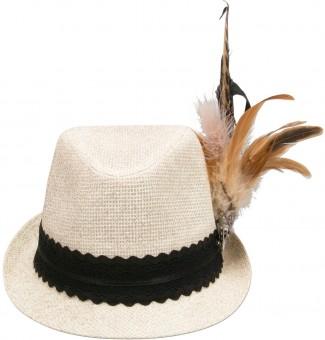 Słomkowy kapelusz Clara brokat biały