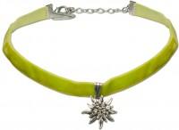 Vorschau: Samtkropfband kleines Edelweiß hellgrün