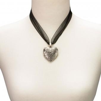 Organzakette Herzamulett schwarz