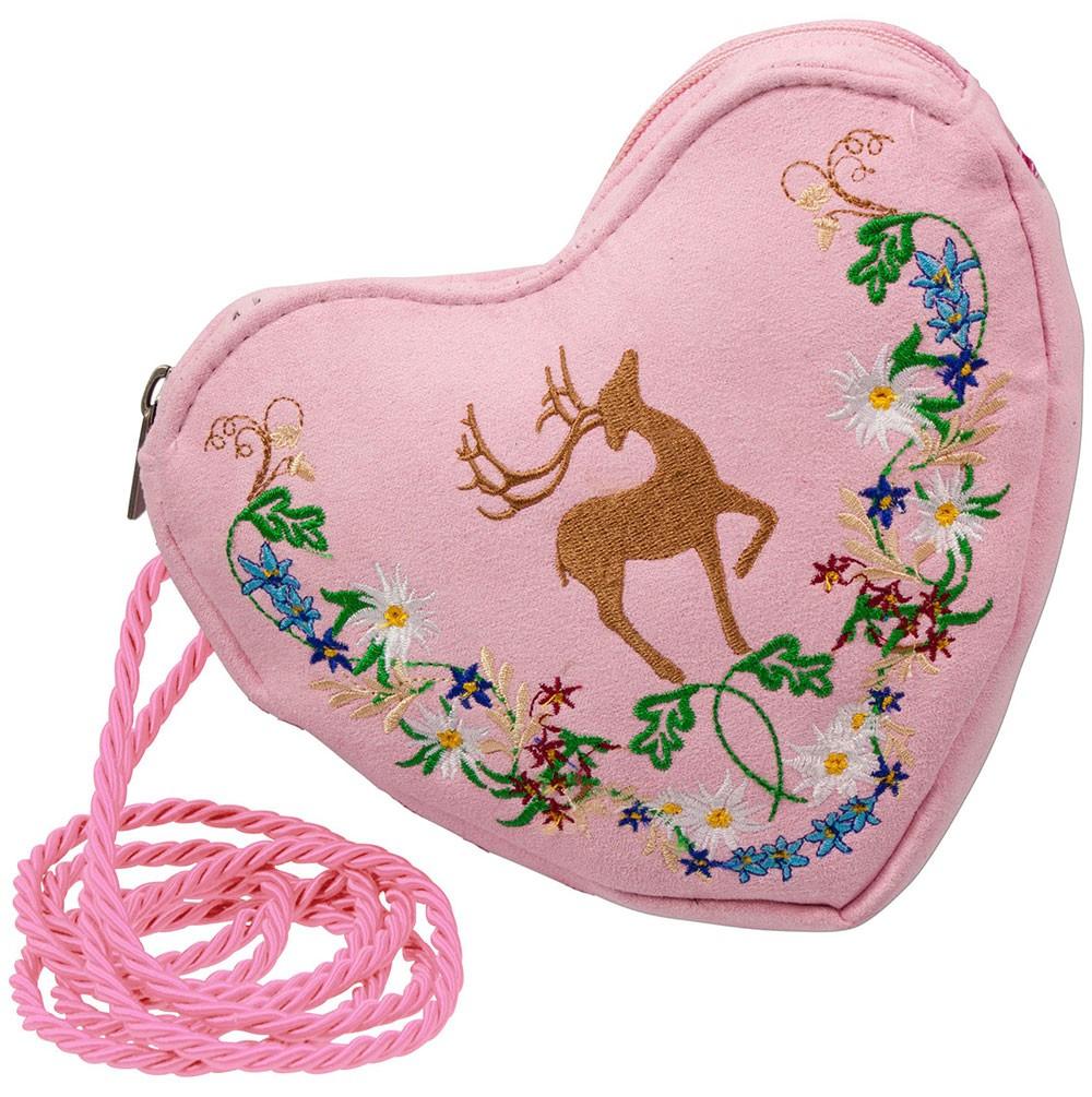 Herz Trachtentasche rosa mit Hirsch und Blumenranke