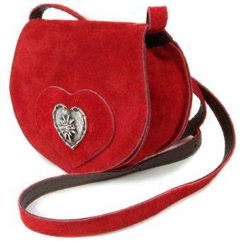 Wildledertasche in Herzform klein rot