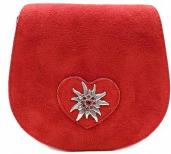 Umhängetasche Herz-Edelweiß rot