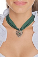 Preview: Chiffon Necklace with Heart Pendant, Moss Green