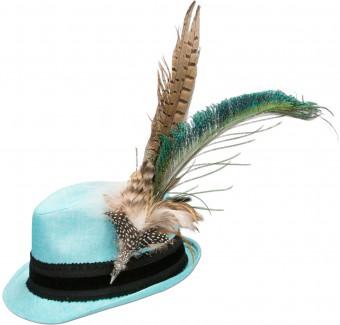 Tradycyjna lniana czapka pawie pióro turkusowe