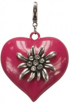 Trachten-Anhänger Edelweiß-Herz pink