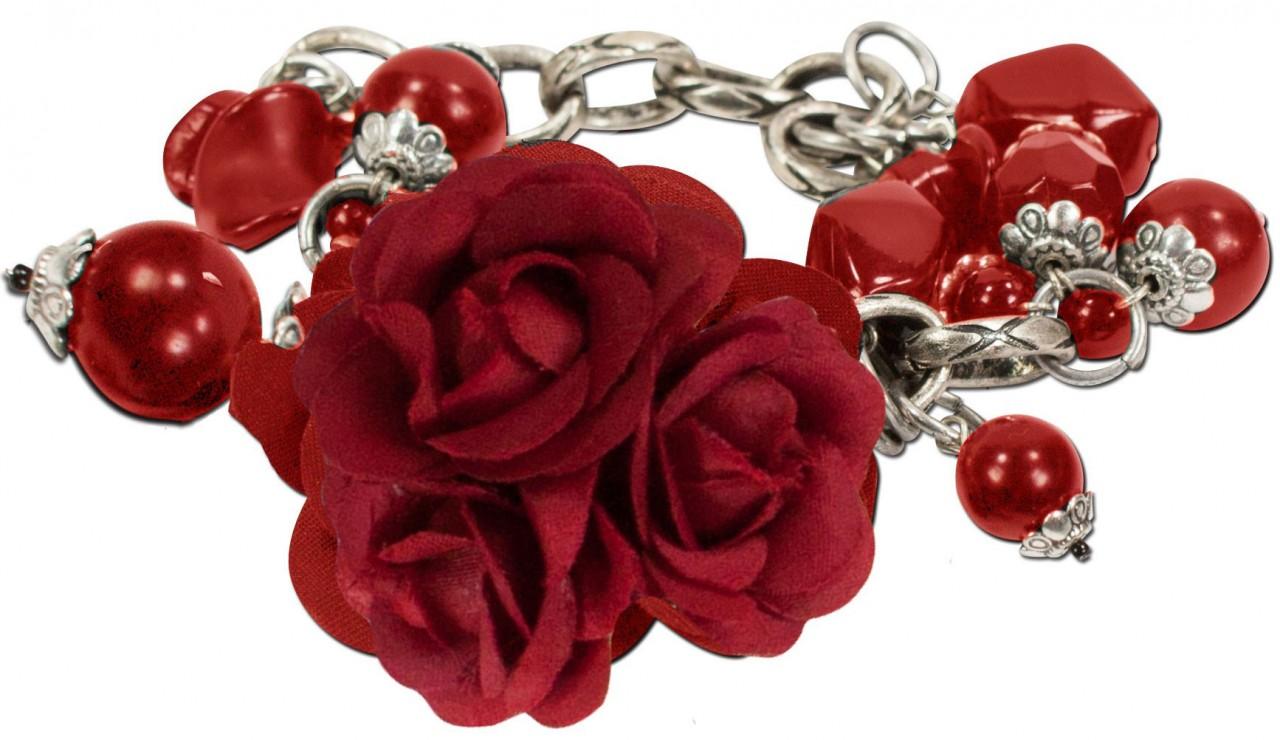 Blüten-Armband Rosi rot