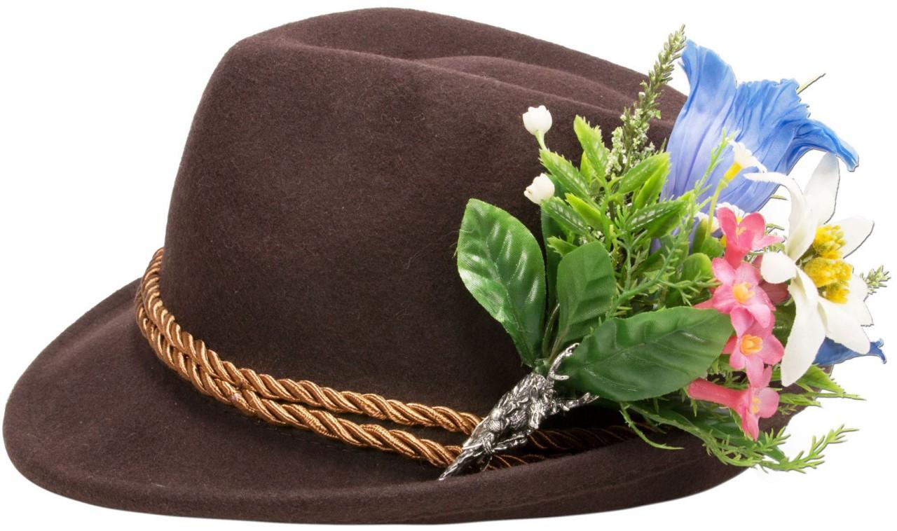 Filzhut Alpenblümchen braun