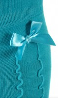 Preview: Ladies Stockings with Ruffle & Bow, Turquoise