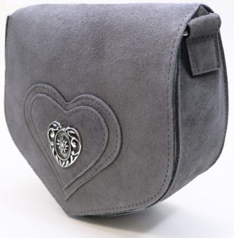 Wildledertasche in Herzform grau