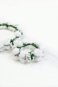Haarkranz und Armband Set weiß