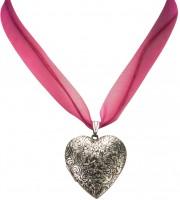 Vorschau: Organzakette Herzamulett pink