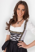 3-piece longer-length grey dirndl with pretty decoration