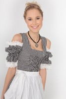 3-piece black gingham mini dirndl with attractive bodice structure