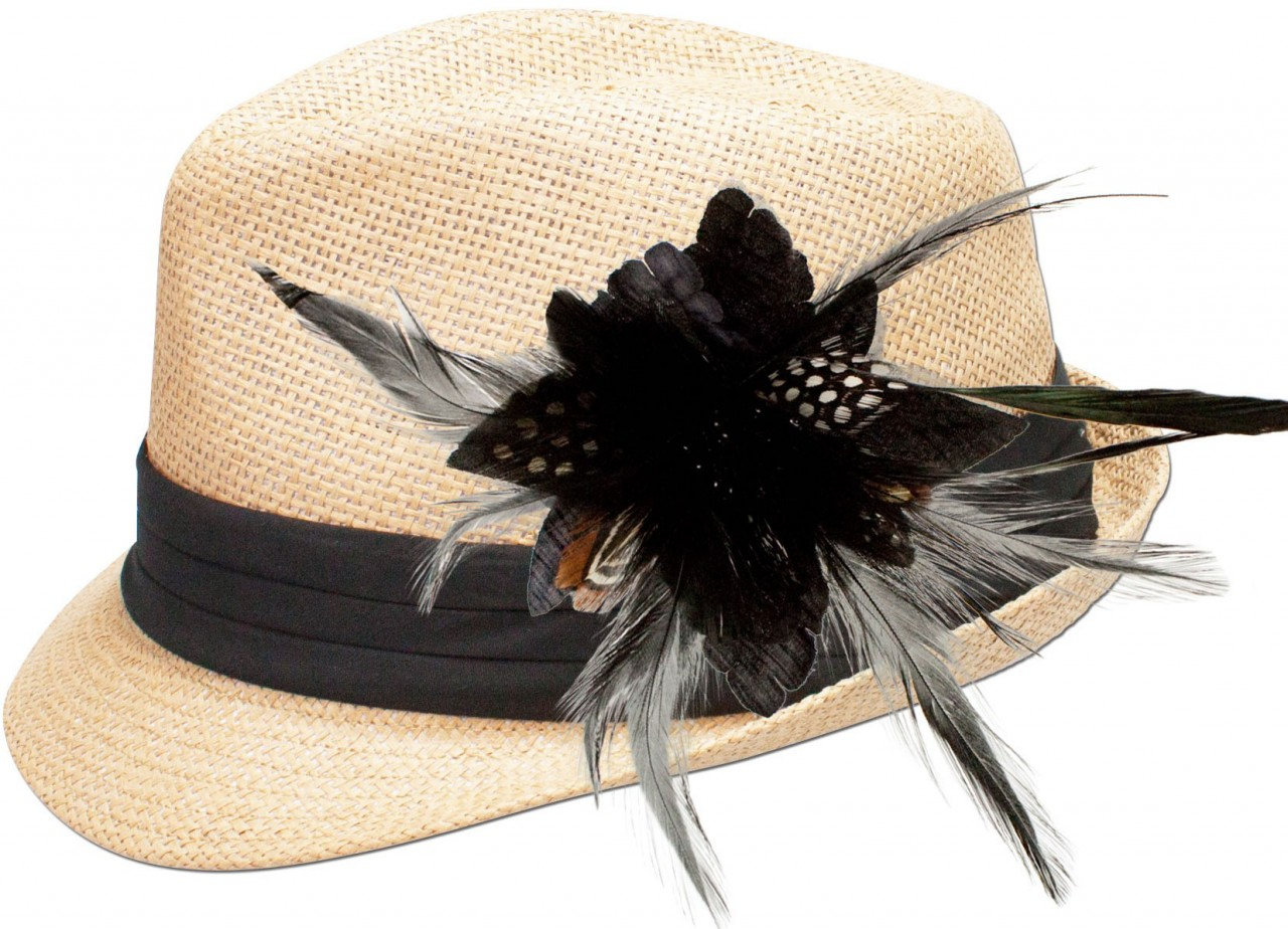 Straw hat Resi with black feather brooch