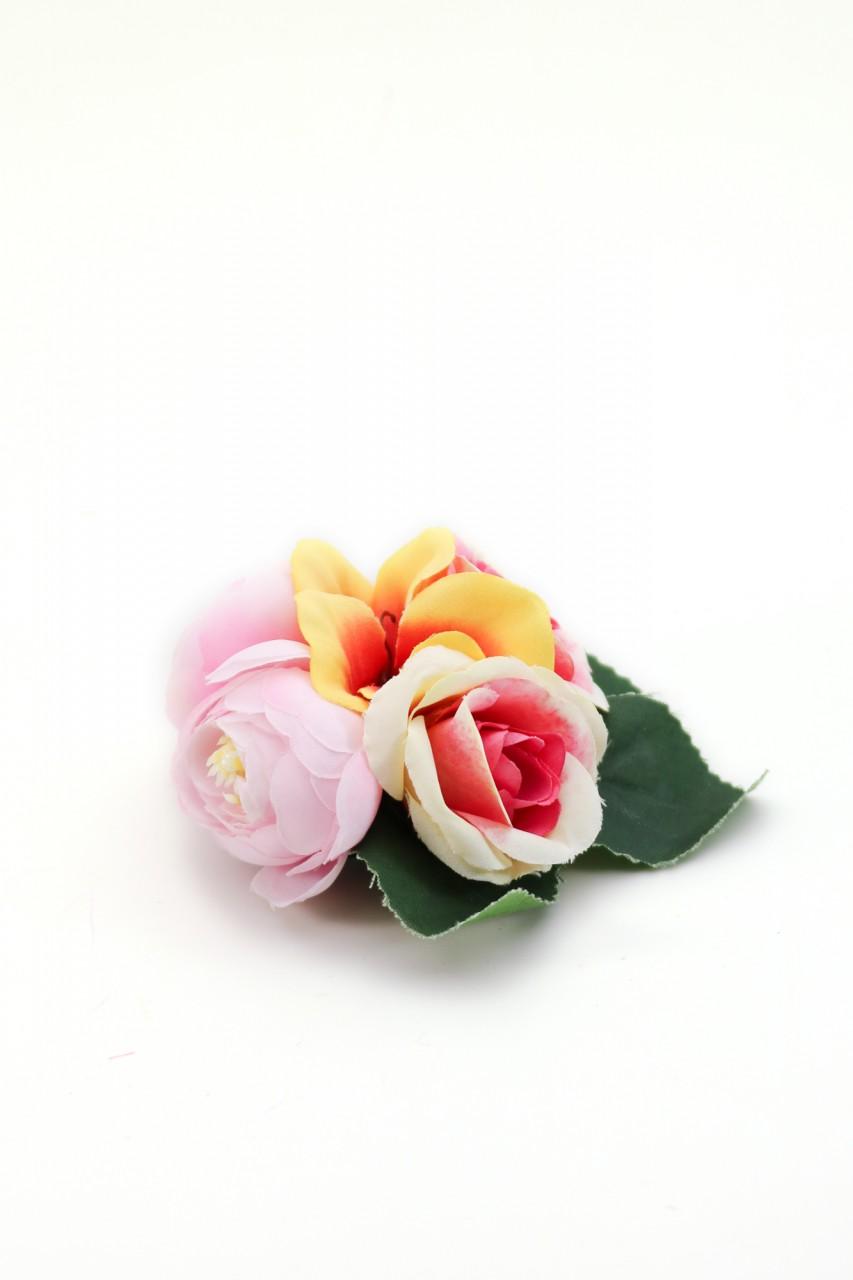 Ansteckblume Franzi rosa-gelb