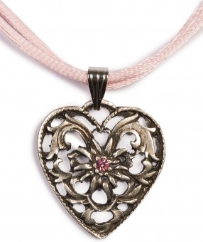 Dirndl Necklace - Bavarian Oktoberfest - Satin String - Heart with Stone, pink