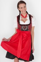 3-piece red midi dirndl with red rose embroidery