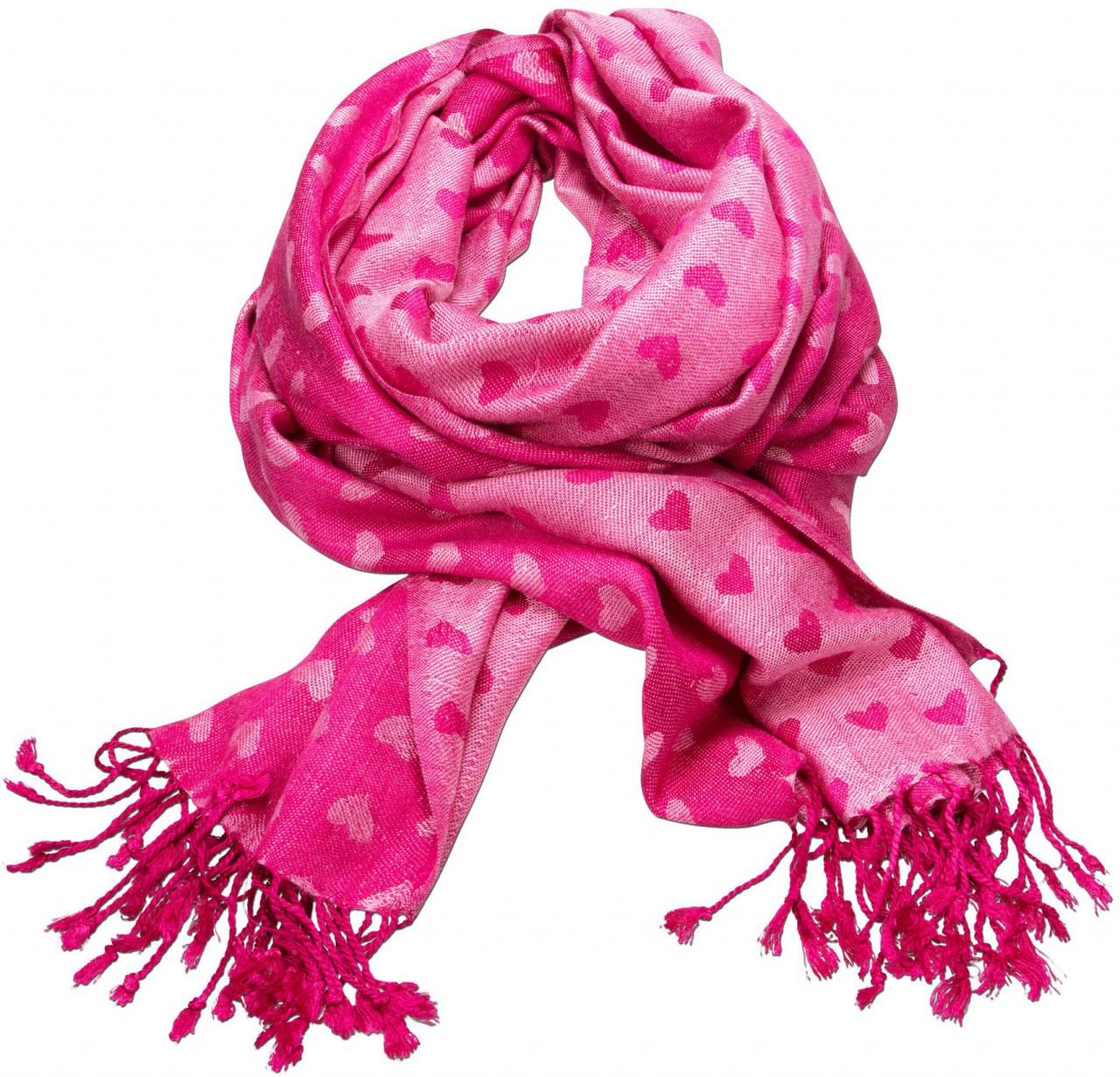 Trachtenschal Herzilein pink