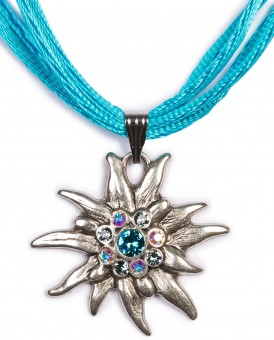 Satin Edelweiss Necklace, Turquoise