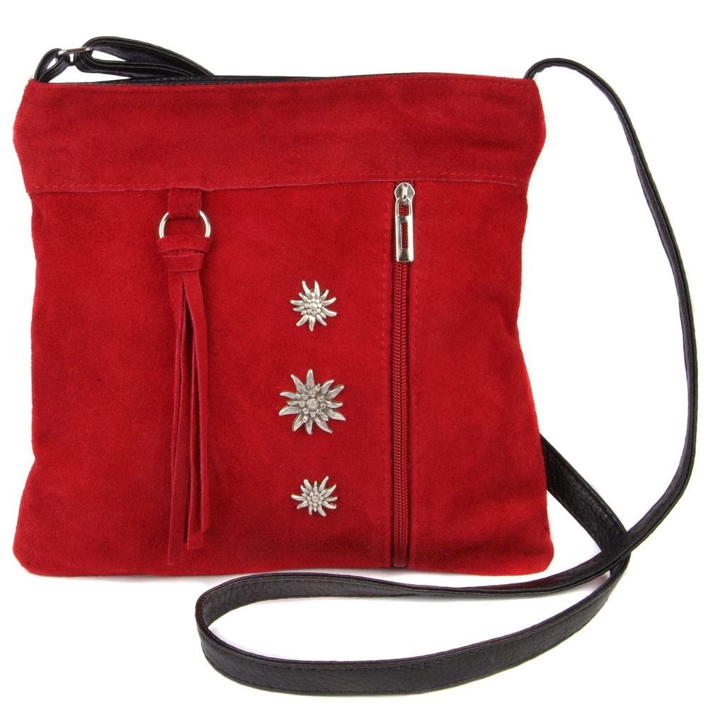 Zamszowa torba na ramię czerwona