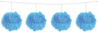 Pompon Girlande blau 3m