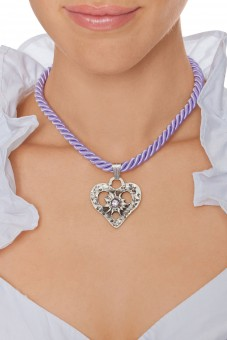 Braid Necklace with heart pendant, purple