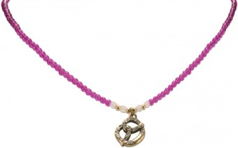 Pearl Necklace with Pretzel Pendant, Pink