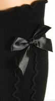 Preview: Ladies Stockings with Ruffle & Bow, Black