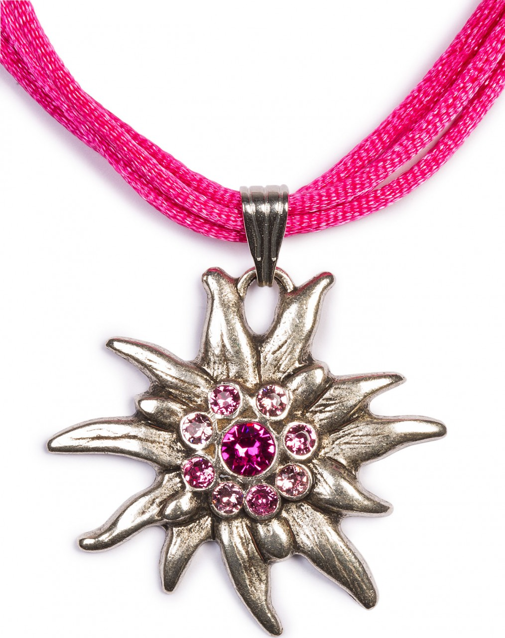 Edelweiss ketting met 4 satijnen linten, roze