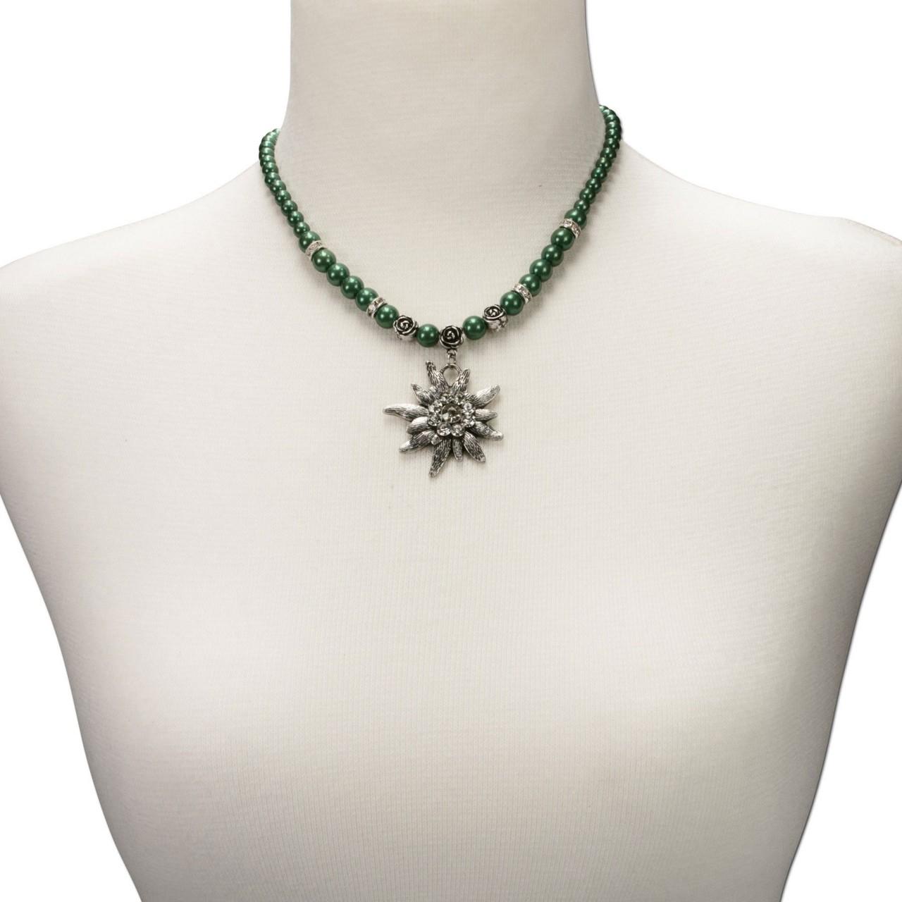 Naszyjnik z pereł duży zielony szarotka