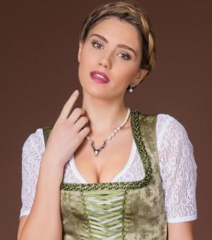 Perlenkette mit Hirschkopfanhänger creme-weiß