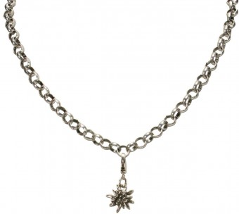 Trachten Mini Edelweiss Pendant, Antique Silver