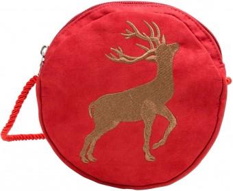 Trachten Rundtasche mit Hirsch-Stickerei rot